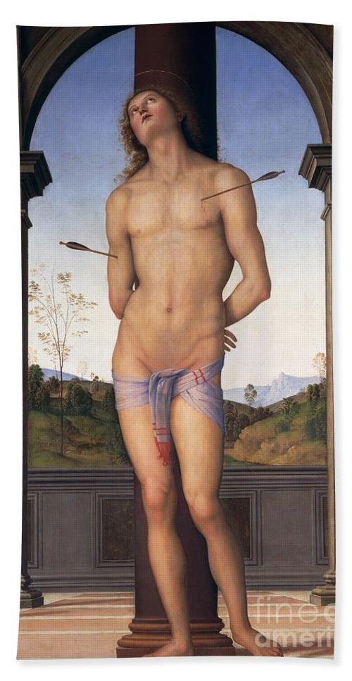 St. Sebastian Bath Sheet featuring the painting St Sebastian by Pietro Perugino