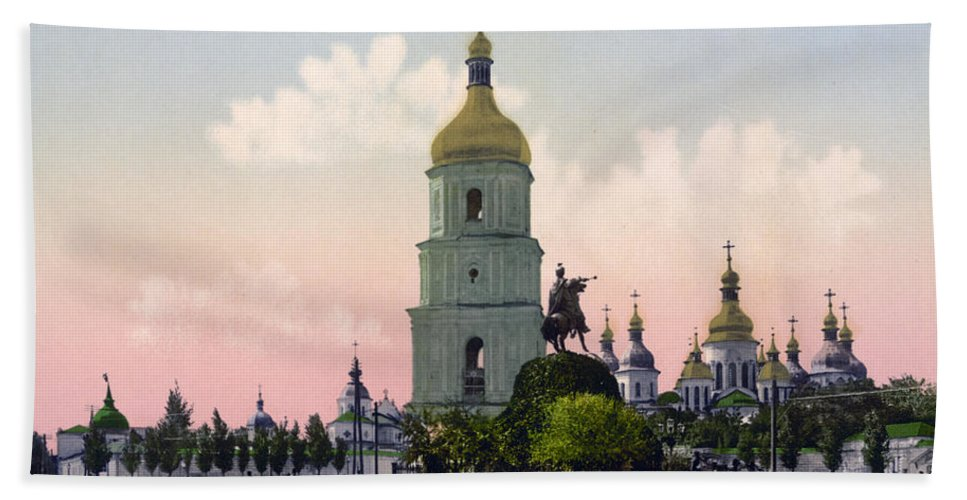 st. Sophia Cathedral Hand Towel featuring the photograph St Sophia Cathedral In Kiev - Ukraine - Ca 1900 by International Images