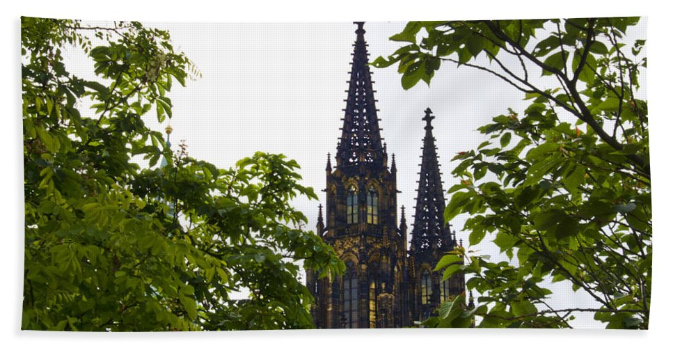 St Vitus Cathedral Bath Sheet featuring the photograph St Vitus Cathedral - Prague by Jon Berghoff