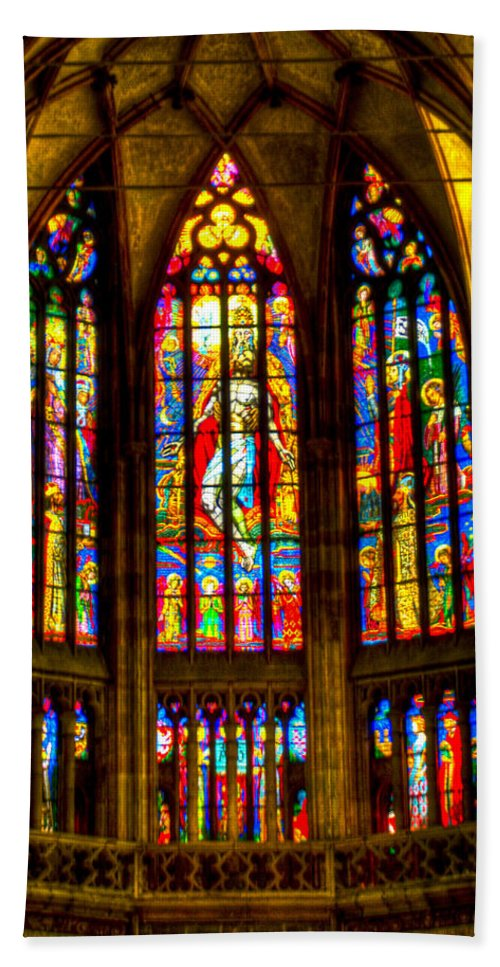 St Vitus Cathedral Bath Sheet featuring the photograph St Vitus Main Altar Stained Glass by Jon Berghoff