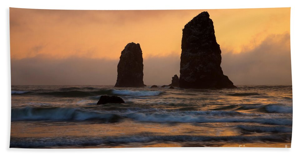 Seastacks Hand Towel featuring the photograph Stacks Of Gold by Mike Dawson
