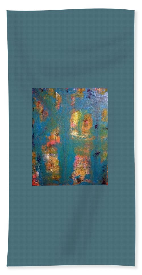 Abstract Art Bath Sheet featuring the painting Stage 2 by Kathy Augustine
