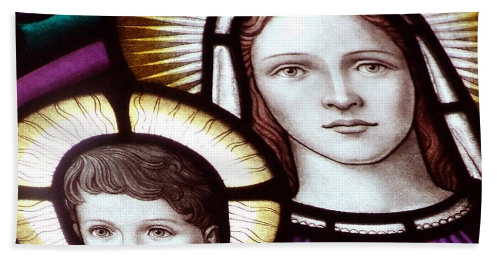 Holy Bath Sheet featuring the photograph Stained Glass Holy Family by Munir Alawi