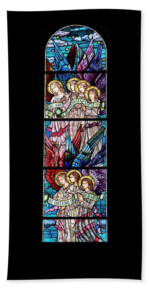 Glass Art Bath Sheet featuring the digital art Stained Glass Pc 07 by Thomas Woolworth