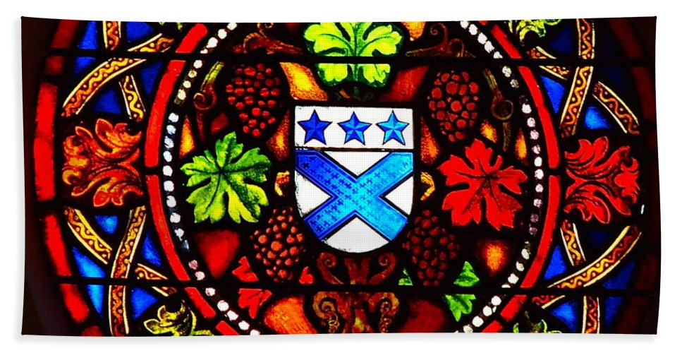 Stained Glass Bath Sheet featuring the photograph Stained Switzerland Window by Eric Tressler