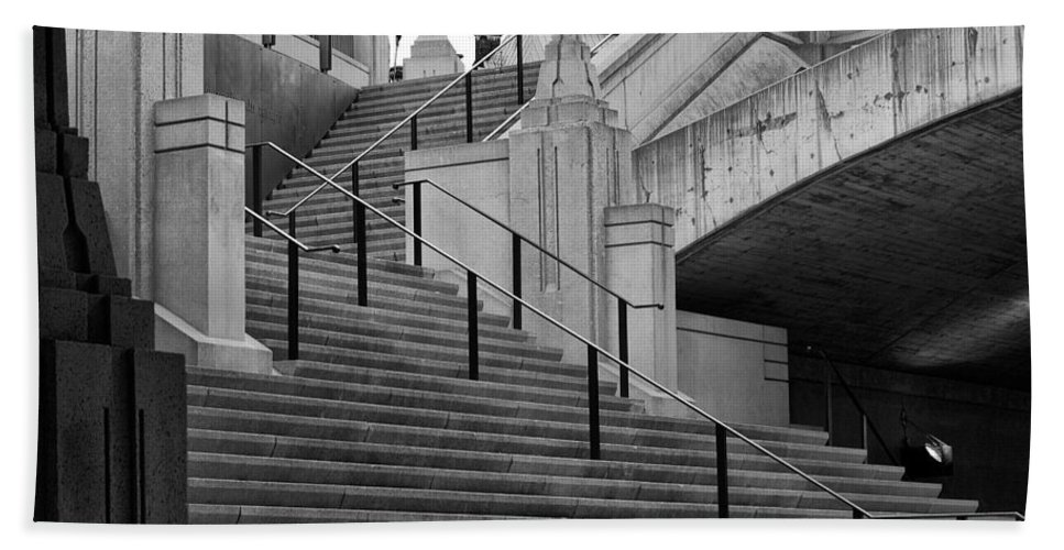 Stairs Canal B&w rideau Canal Rideau Ottawa Canada Hand Towel featuring the photograph Stairs by Eunice Gibb