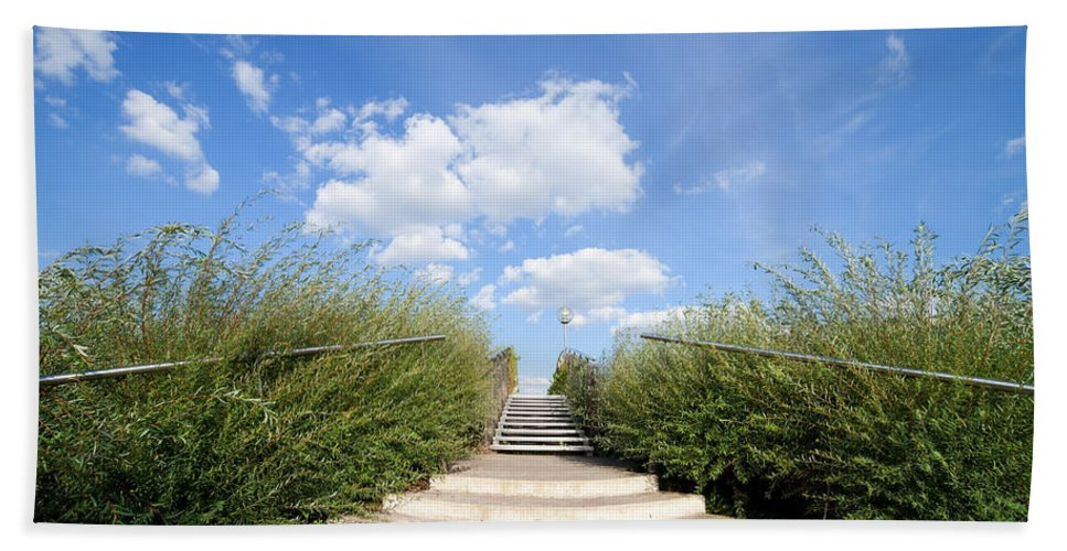 Stairs Bath Sheet featuring the photograph Stairs To The Big Blue Sky by Artur Bogacki