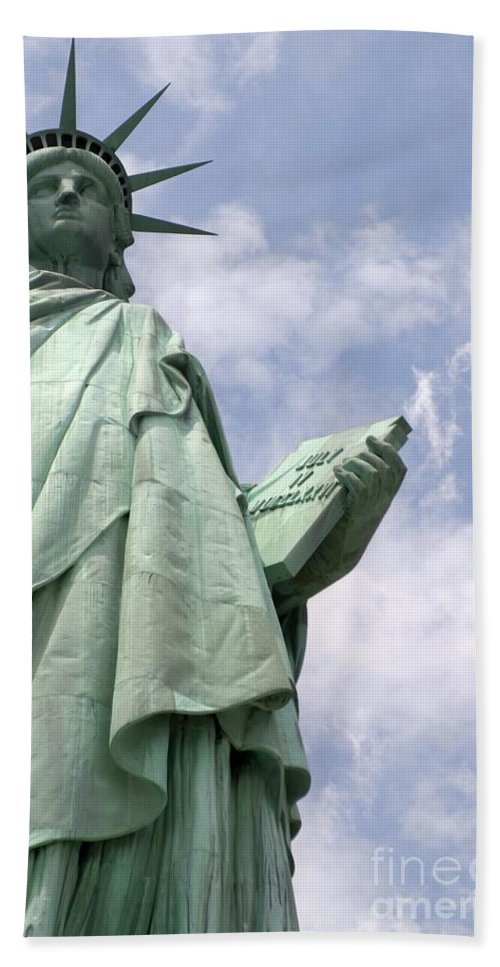Statue Of Liberty Bath Sheet featuring the photograph Stand Tall by Living Color Photography Lorraine Lynch