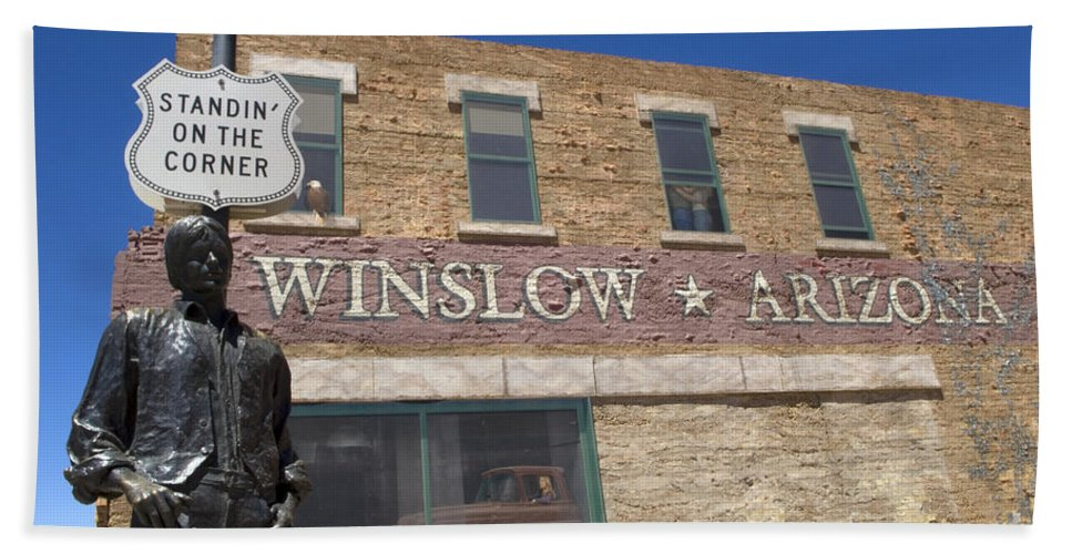 Winslow Arizona Bath Sheet featuring the photograph Standin On The Corner In Winslow Arizona by Bob Christopher