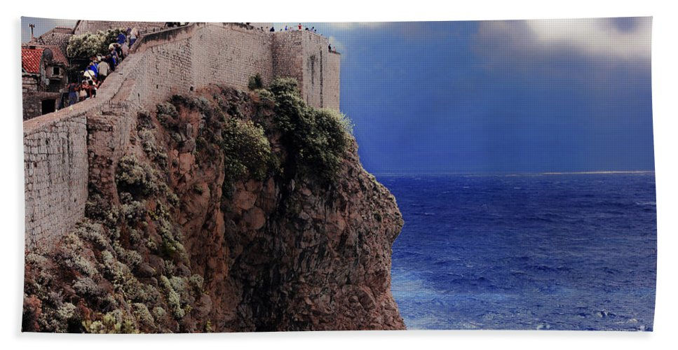 Dubrovnik Bath Sheet featuring the photograph Standing At The Edge Of Time by Madeline Ellis
