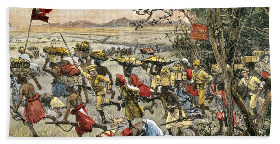 History Hand Towel featuring the photograph Stanley Leads Attack On Hostile Tribe by Photo Researchers