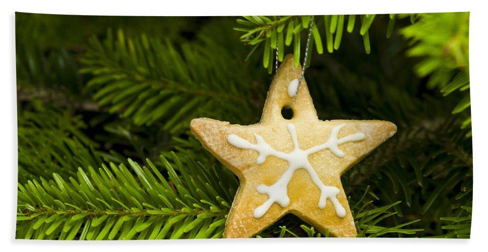 Advent Bath Sheet featuring the photograph Star Shape Short Bread Cookie by U Schade