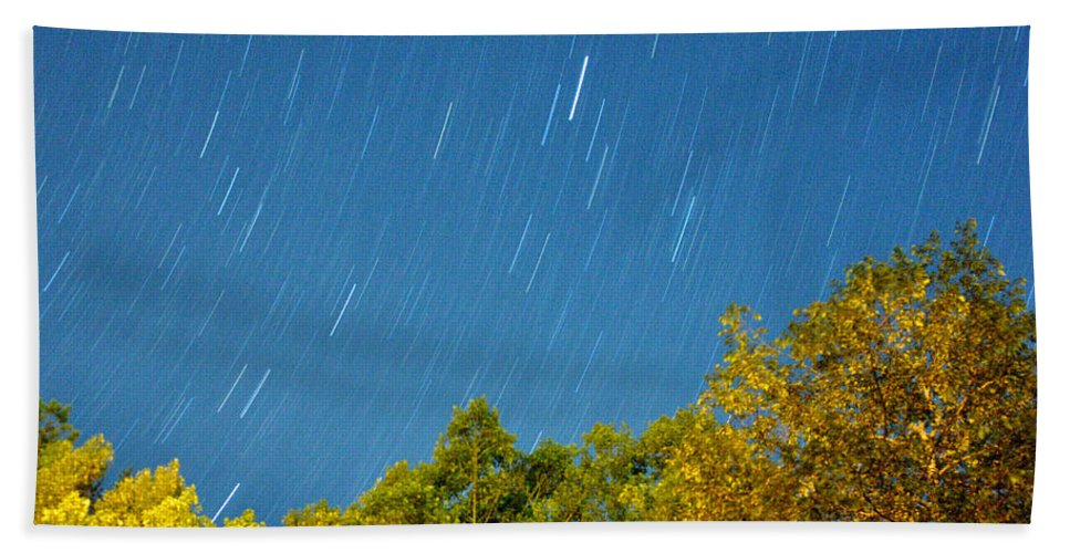 Night Bath Sheet featuring the photograph Star Trails On A Blue Sky by Kay Lovingood