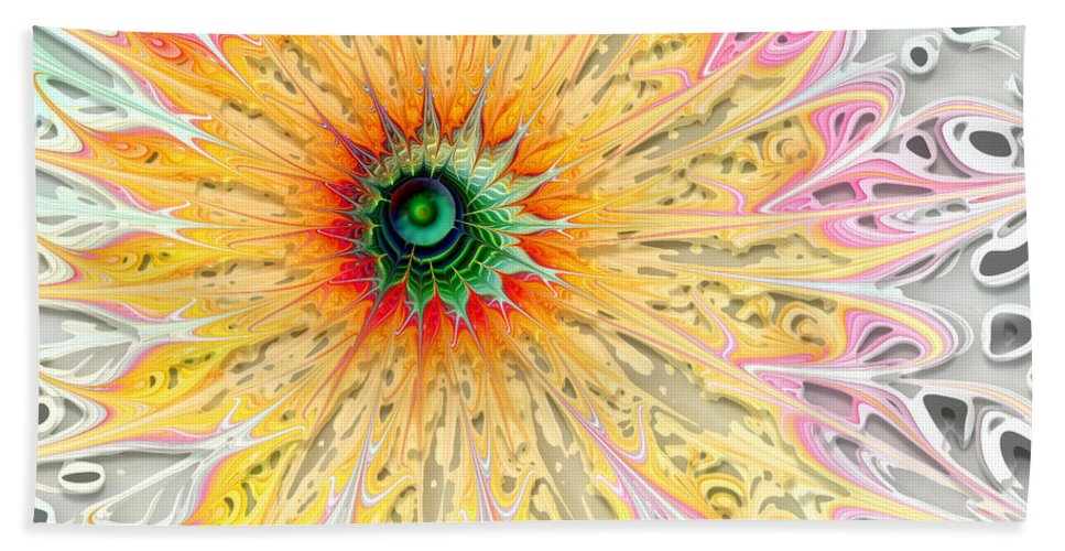 Digital Art Bath Sheet featuring the digital art Starburst by Amanda Moore