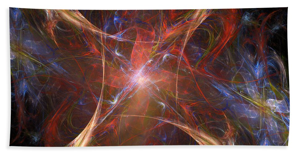 Blue Bath Sheet featuring the digital art Starburst by Ricky Barnard