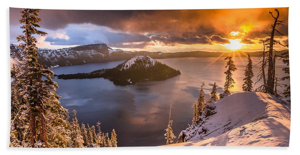 Cascades Hand Towel featuring the photograph Starburst Sunrise At Crater Lake by Greg Nyquist