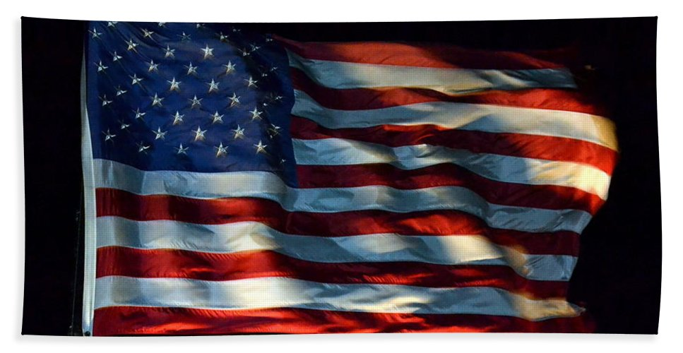Flag Hand Towel featuring the photograph Stars And Stripes At Night by Kevin Fortier