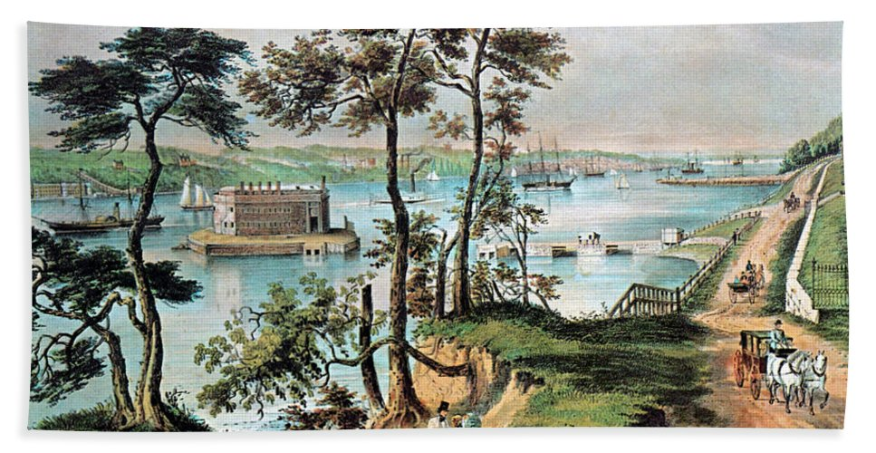 History Hand Towel featuring the photograph Staten Island And The Narrows, 20th by Photo Researchers