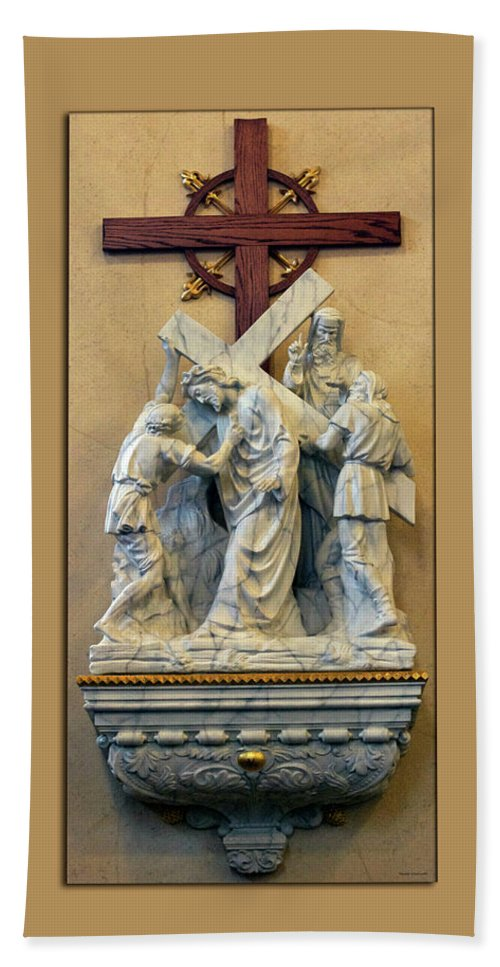 Statue Bath Sheet featuring the photograph Station Of The Cross 05 by Thomas Woolworth