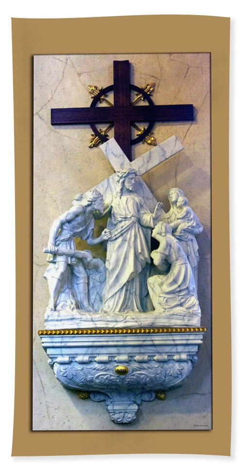 Statue Bath Sheet featuring the photograph Station Of The Cross 08 by Thomas Woolworth