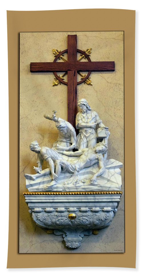 Statue Bath Sheet featuring the photograph Station Of The Cross 11 by Thomas Woolworth