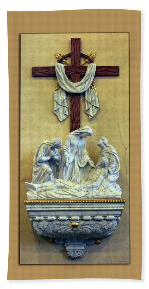 Statue Bath Sheet featuring the photograph Station Of The Cross 13 by Thomas Woolworth