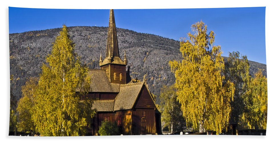 Architecture Bath Sheet featuring the photograph Stave Church In Lom by Heiko Koehrer-Wagner