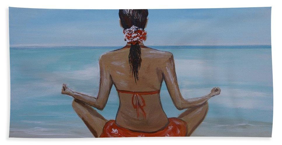 Woman Meditating Bath Sheet featuring the painting Staying Calm by Leslie Allen