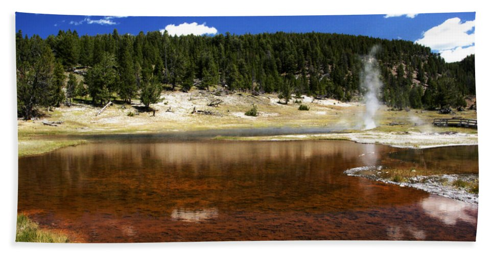 Firehole Lake Bubbles And Splashes Superheated Steam Rises Through Pool. Lower Geyser Basin Bath Sheet featuring the photograph Steam At Firehole Lake by Paul Cannon