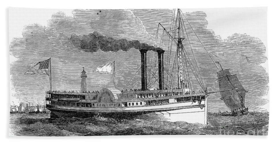 1850 Hand Towel featuring the photograph Steamboat, 1850 by Granger