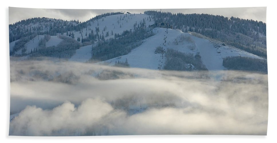 Clouds Bath Sheet featuring the photograph Steamboat Ski Area In Clouds by Don Schwartz