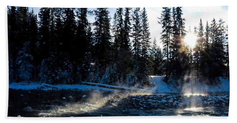 Alp Bath Sheet featuring the photograph Steaming River In Winter by U Schade