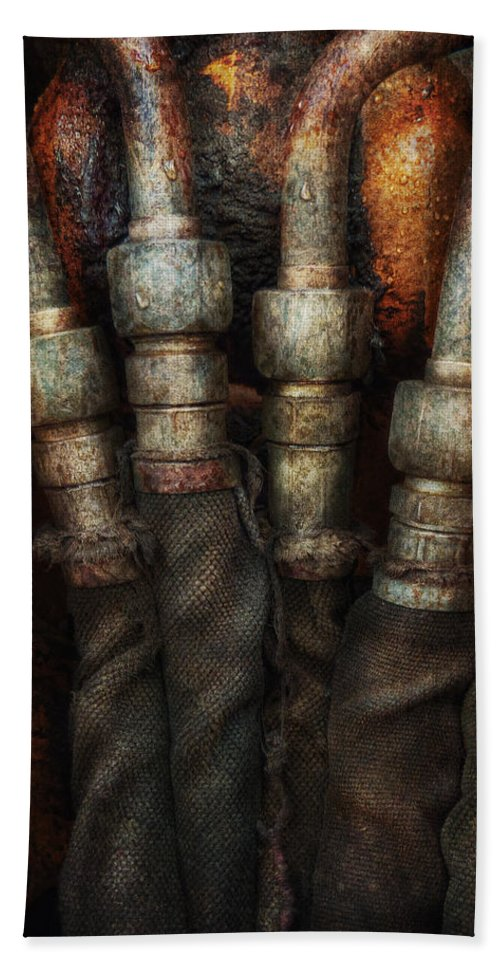 Hdr Hand Towel featuring the photograph Steampunk - Pipes by Mike Savad