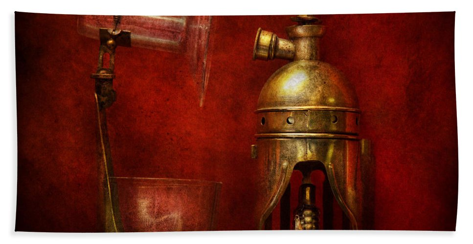 Torch Hand Towel featuring the photograph Steampunk - The Torch by Mike Savad