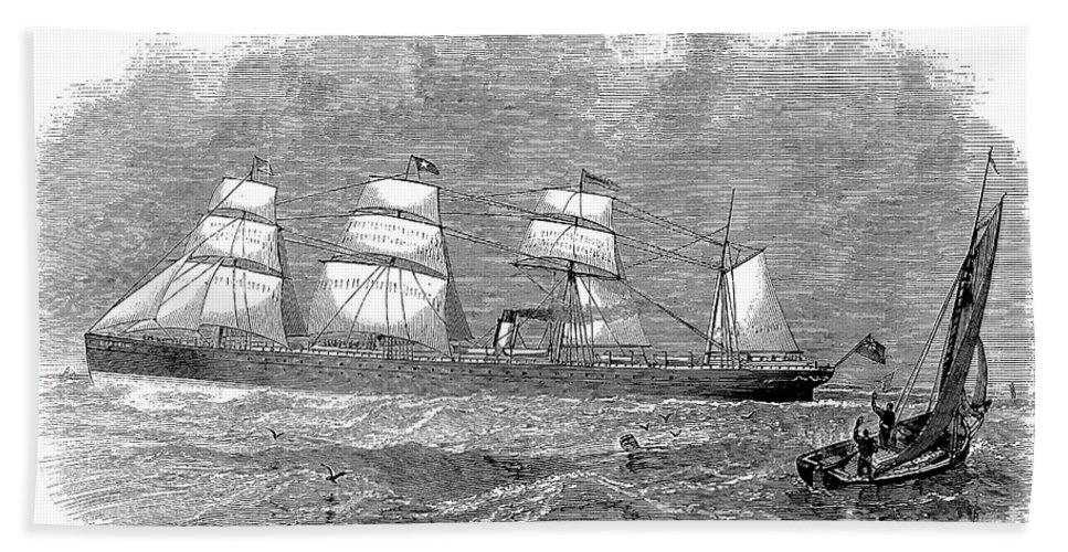 1872 Bath Sheet featuring the photograph Steamship: Republic by Granger