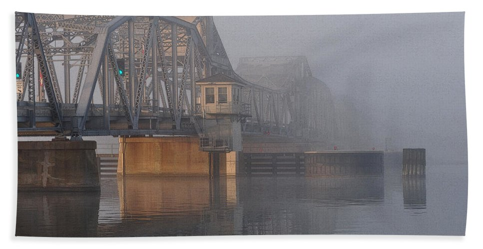 Bridge Hand Towel featuring the photograph Steel Bridge In Morning Fog by Tim Nyberg