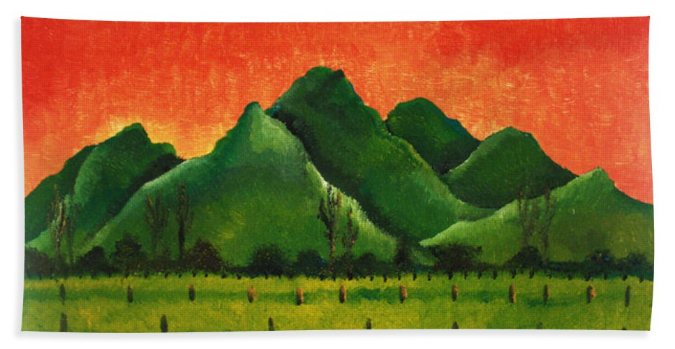 South Africa Hand Towel featuring the painting Stellenbosch Mountain by Pixie Alex