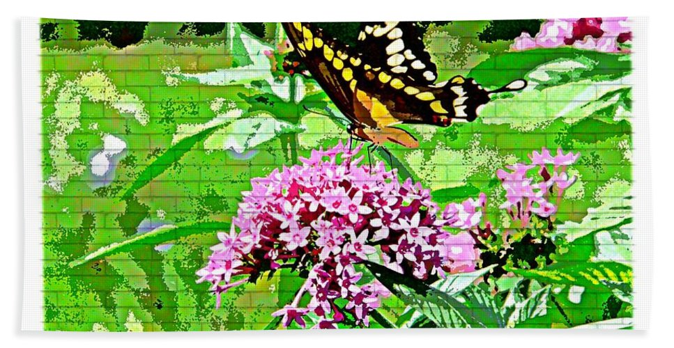 Butterfly Flower Bath Sheet featuring the photograph Stencilled Butterfly by Alice Gipson