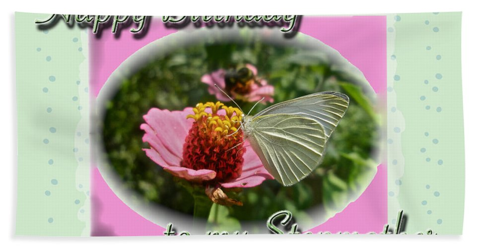 Birthday Hand Towel featuring the photograph Stepmother Birthday Greeting Card - Butterfly On Flower by Mother Nature