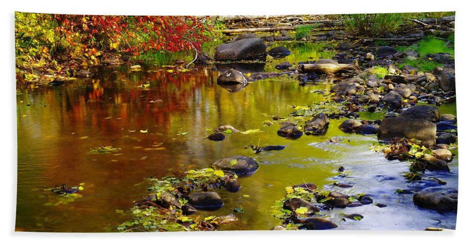Autumn. Fall Hand Towel featuring the photograph Still Golden Waters by Jeff Swan