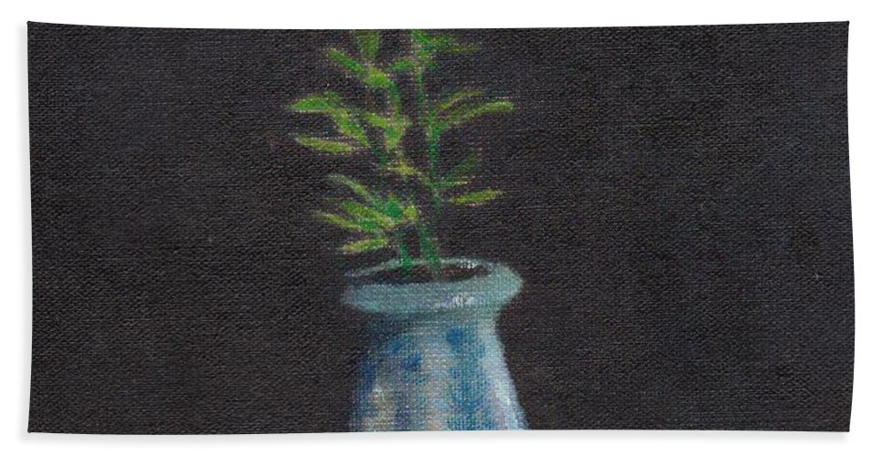 Still Life Hand Towel featuring the painting Still Life Flowers And Fruit by Charles McChesney