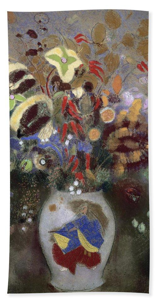 Oriental; Symbolist; Vase Au Guerrier Japonais Bath Sheet featuring the painting Still Life Of A Vase Of Flowers by Odilon Redon