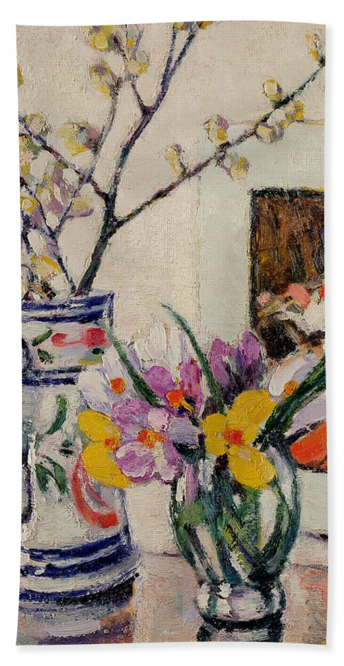 Still Bath Sheet featuring the painting Still Life With Flowers In A Vase  by Rowley Leggett