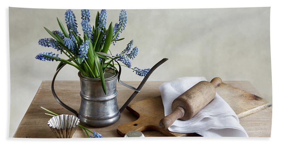 Metal Hand Towel featuring the photograph Still Life With Grape Hyacinths by Nailia Schwarz
