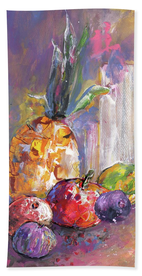 Still Life Bath Sheet featuring the painting Still Life With Pineapple by Miki De Goodaboom
