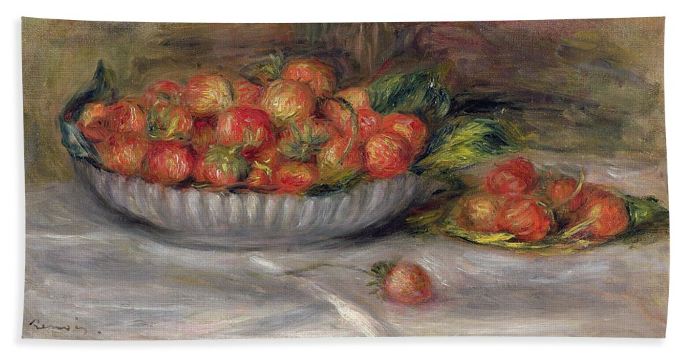 Pierre Auguste Renoir Bath Sheet featuring the painting Still Life With Strawberries by Pierre Auguste Renoir