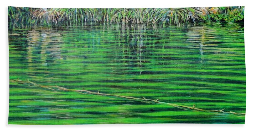 Still Waters Hand Towel featuring the painting Still Waters by Usha Shantharam