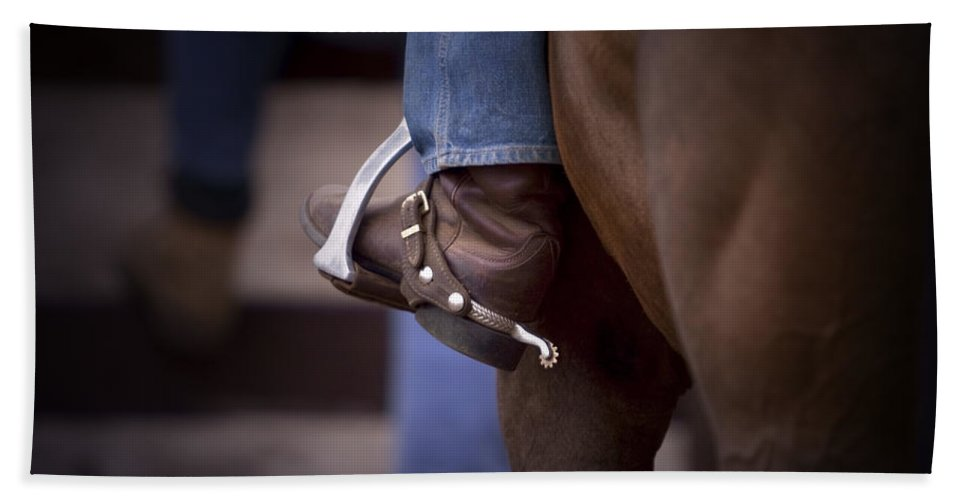 Horse Hand Towel featuring the photograph Stockhorse And Spurs by Michelle Wrighton