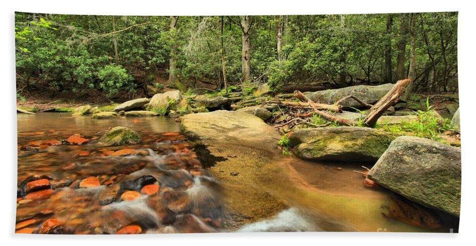 Stone Mountain Hand Towel featuring the photograph Stone Mountain Stream by Adam Jewell