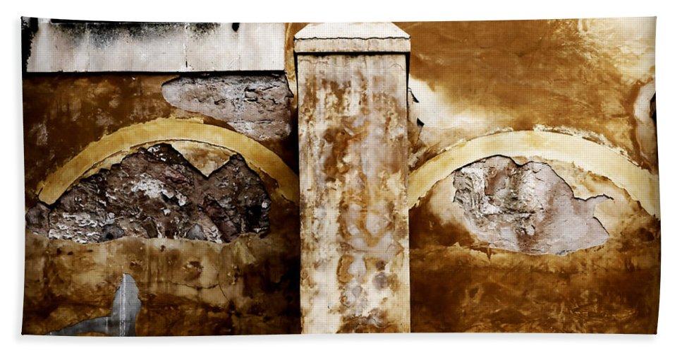 Mahon Bath Sheet featuring the photograph Stone Sight - Two Arches And A Column Draws A Disturbing Almost Human Face by Pedro Cardona Llambias